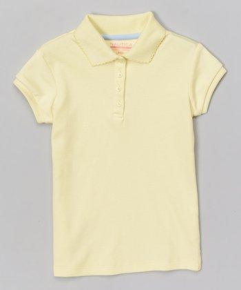 Light Yellow Scalloped Polo - Girls