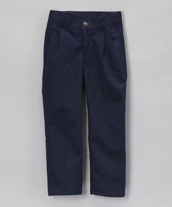 Navy Pleated Pants - Boys