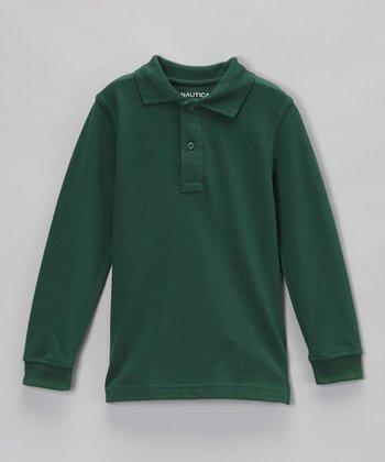 Hunter Green Piqué Long-Sleeve Polo - Boys