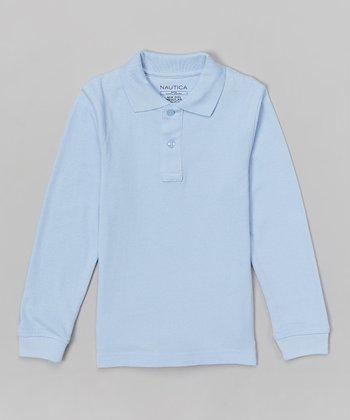 Light Blue Piqué Long-Sleeve Polo - Boys