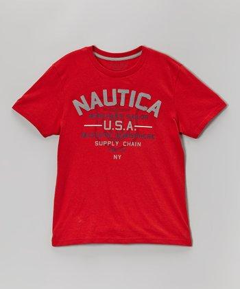 Red 'Nautica USA' Tee - Boys