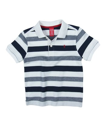 Cream & Navy Stripe Polo - Toddler & Boys