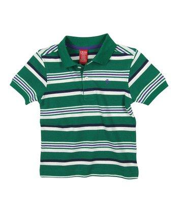 Green & White Stripe Polo - Toddler & Boys