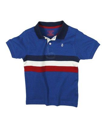 Blue & White Center Stripe Polo - Boys