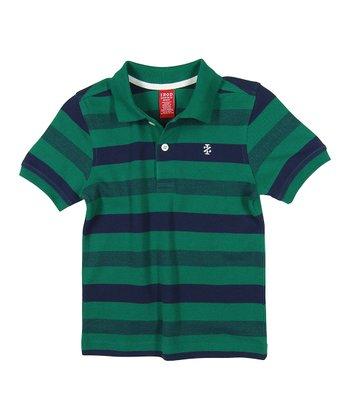 Green & Navy Stripe Polo - Boys
