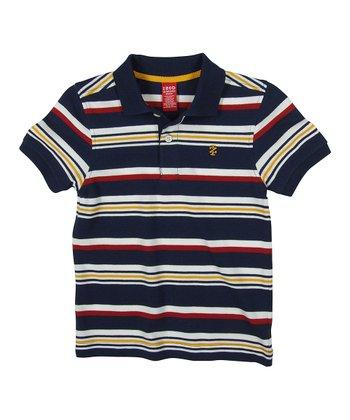 Navy & Yellow Stripe Polo - Boys