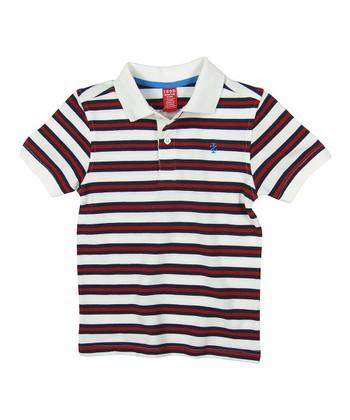 Cream & Red Stripe Polo - Boys