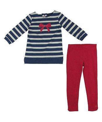 Blue Heather Stripe Tunic & Red Leggings - Infant & Toddler