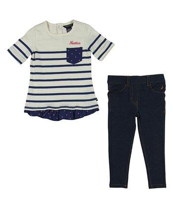 Natural Stripe Pocket Tunic & Jeggings - Infant & Toddler