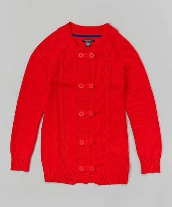 Dark Red Cable Cardigan - Girls