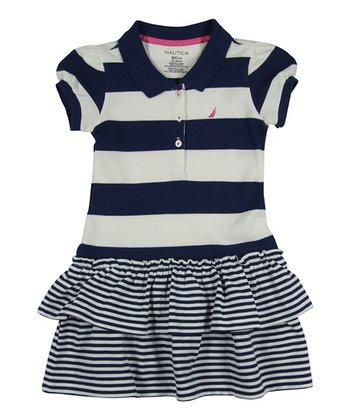 Natural & Navy Stripe Piqué Tiered Polo Dress - Girls