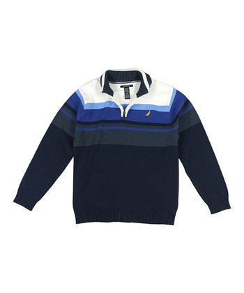 Navy & Blue Stripe Pullover - Toddler & Boys