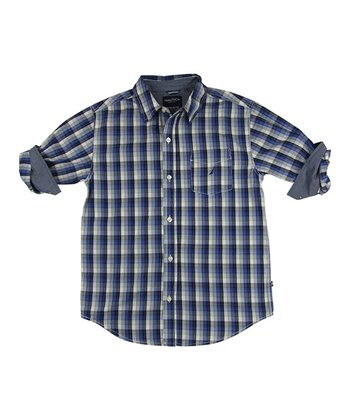 Cobalt & Chambray Plaid Button-Up - Infant, Toddler & Boys