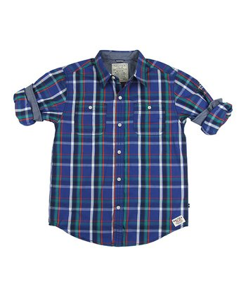 Navy & Chambray Plaid Button-Up - Boys