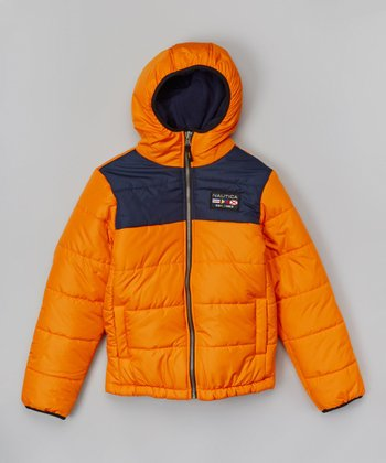 Orange Reversible Bubble Jacket - Toddler & Boys