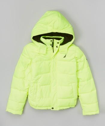 Neon Yellow Short Bubble Jacket - Toddler & Boys