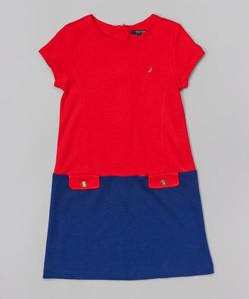 Dark Red Color Block Ponte Dress - Girls