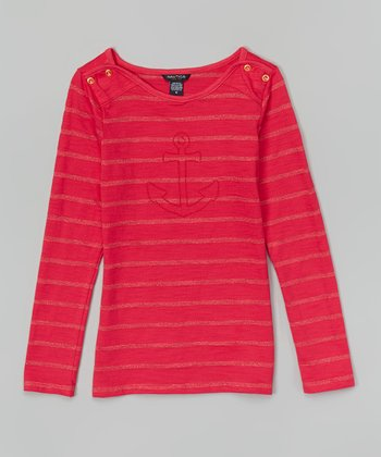 Medium Pink Stripe Anchor Top - Girls