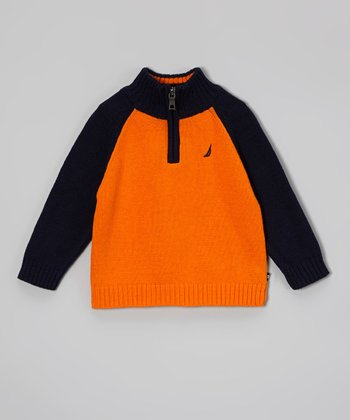 Orange & Black Raglan Pullover - Infant, Toddler & Boys