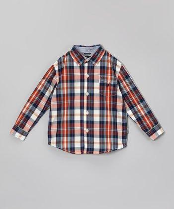 Vermilion & Blue Plaid Button-Up - Toddler & Boys