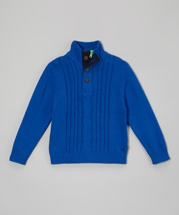 Cobalt Cable-Knit Pullover - Boys