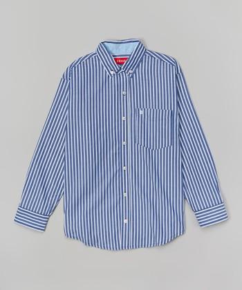 Sea Blue Stripe Button-Up - Boys