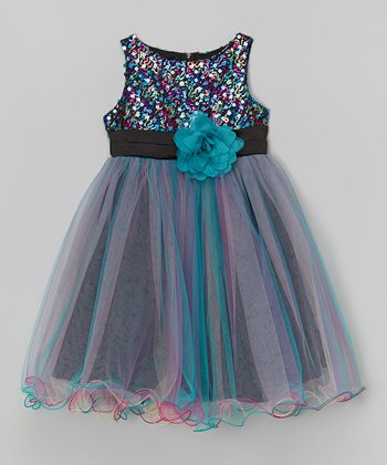 Teal Sequin Overlay Dress - Toddler & Girls