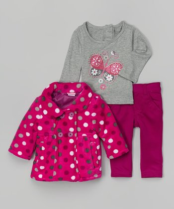 Gray & Pink Butterfly Tee Set - Infant
