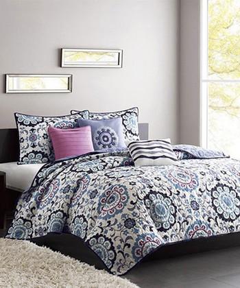 Blue & Purple Floral Becky Quilt Set