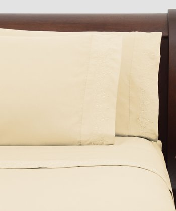 Beige Presidential Suite Embroidered Sheet Set