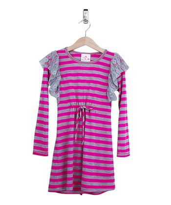 Fuchsia & Gray Lace Ruffle Dress - Toddler