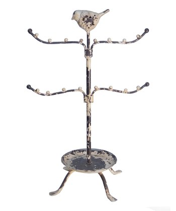 Distressed White Bird Jewelry Stand