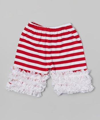 Red Stripe Lace Ruffle Shorts - Toddler & Girls