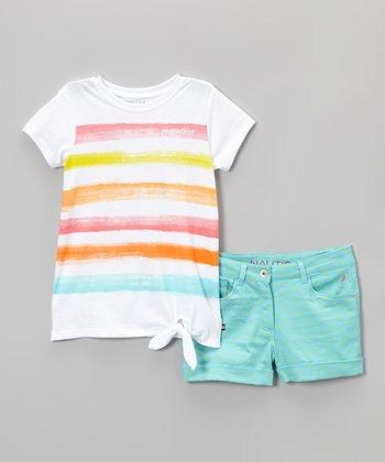 White Stripe Side-Tie Tee & Aqua Shorts - Infant & Toddler