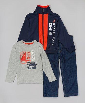 Navy & Red Track Jacket Set - Infant, Toddler & Boys