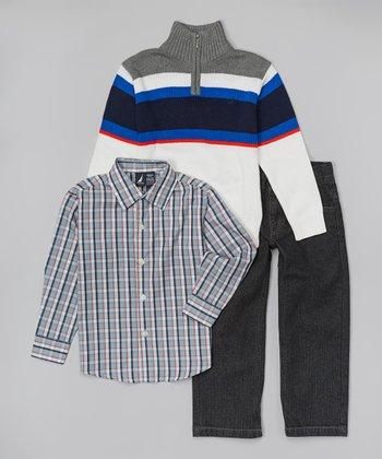 Cream & Gray Stripe Pullover Set - Infant, Toddler & Boys