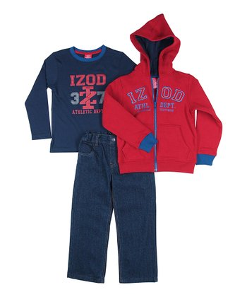 Red Zip-Up Hoodie Set - Toddler & Boys