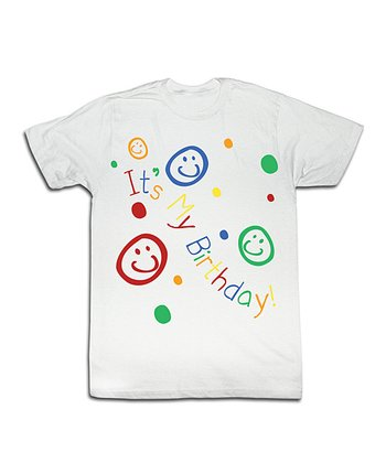 White 'It's My Birthday' Smiley Face Tee - Toddler & Kids
