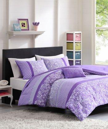Purple & White Floral Three-Piece Bedding Set