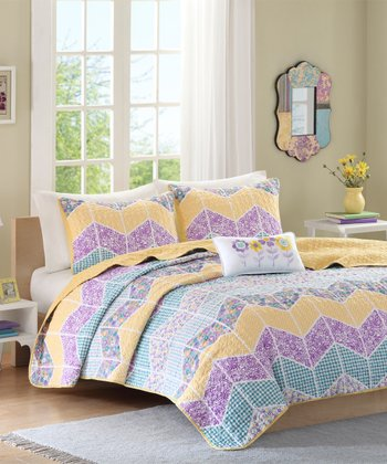 Purple & Yellow Floral Three-Piece Bedding Set