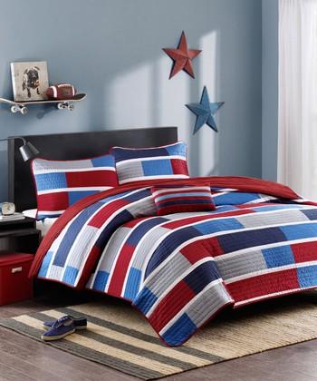 Red & Blue Stripe Three-Piece Bedding Set