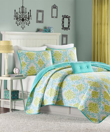 Yellow & Teal Floral Three-Piece Bedding Set