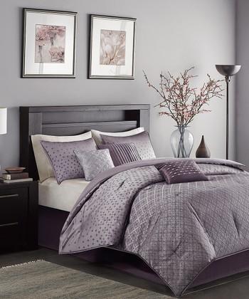 Purple Jacquard Comforter Set