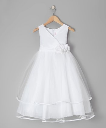 White Embellished Surplice Dress - Toddler & Girls