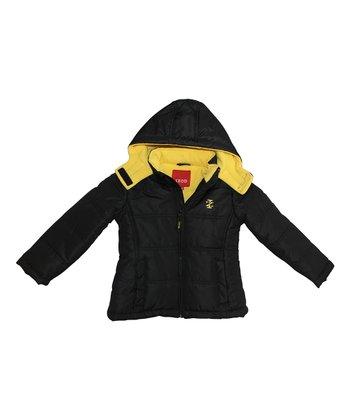 Black Two-Tone Puffer Jacket - Toddler & Girls