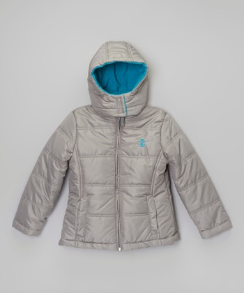 Silver Two-Tone Puffer Jacket - Toddler & Girls
