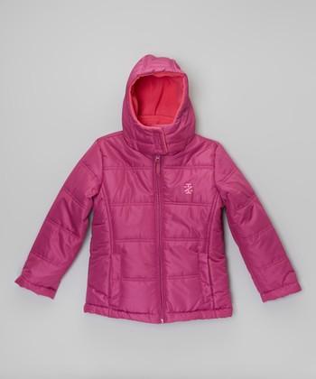 Purple Two-Tone Puffer Jacket - Girls