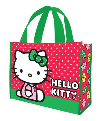 Red & Green Hello Kitty Shopping Tote - Set of Two