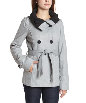 Heather Gray Broad-Lapel Belted Coat