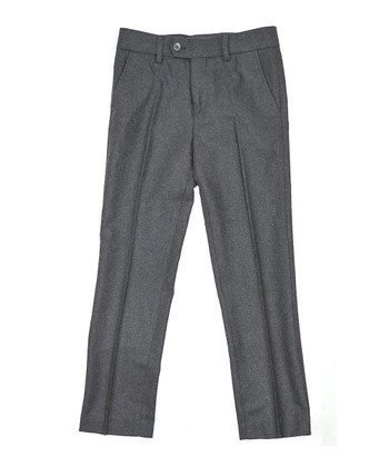 Charcoal Classic Pleated Pants - Toddler & Boys